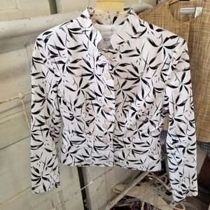 J G Hook 4P Black White Linen Blend Jacket Blazer